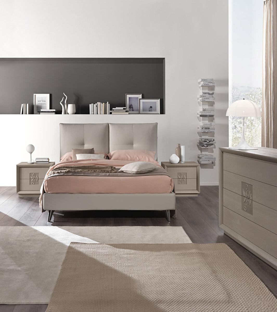 Letto moderllo Kira - caldo color tortora, un letto ...