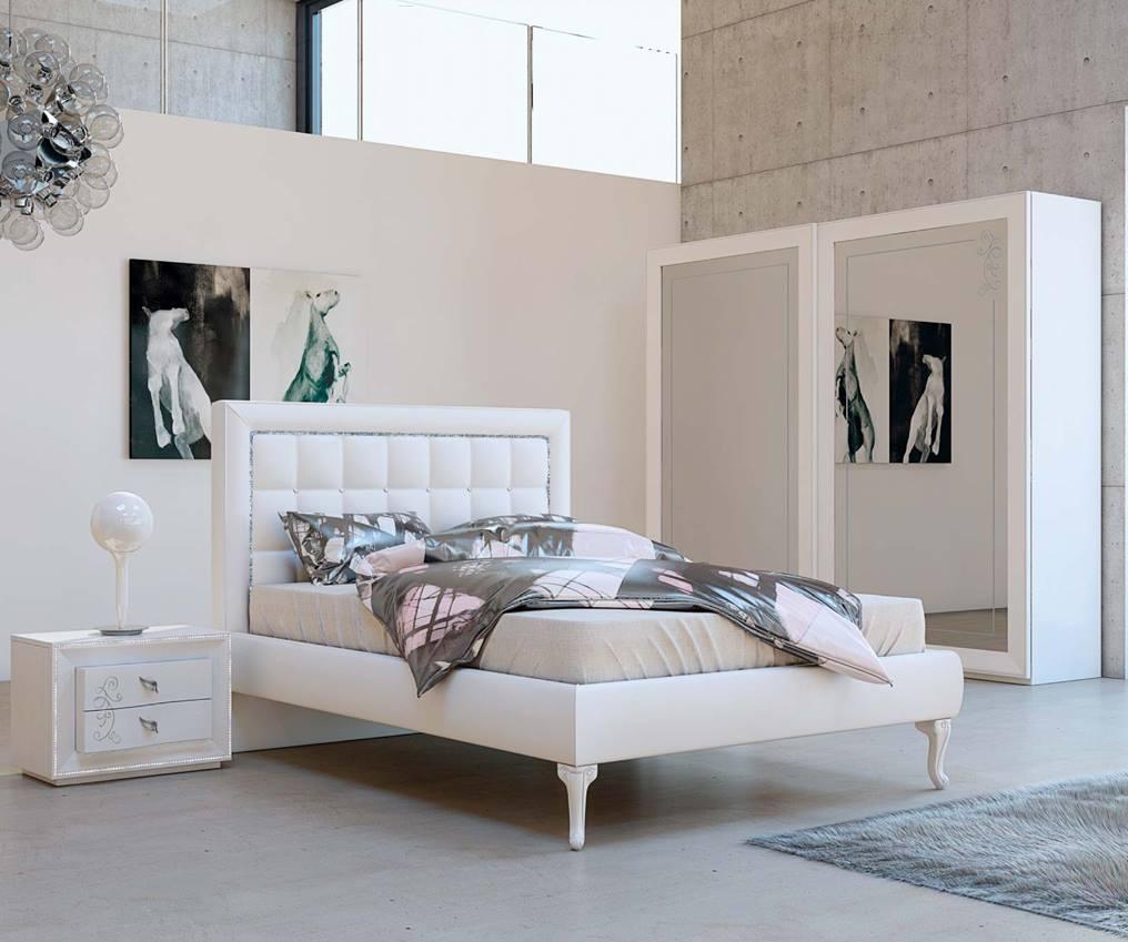 Letto maya letto di design per camera moderna - Letto in pelle bianco ...