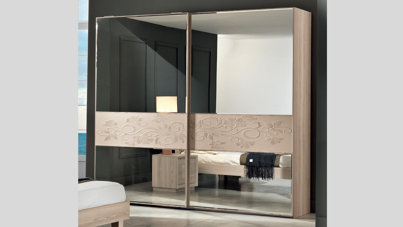 Armadio moderno con ante a specchio - Camera da letto frassino bianco ...